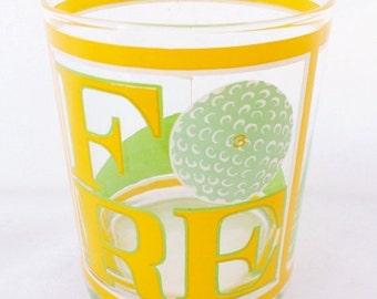 ON SALE Vintage, Golf Theme, Cora, Highball, Rocks, Glasses, Set of 6, 1960'S, Barware, Glassware, Glass, Fore, Sports, Yellow, Green, Golf