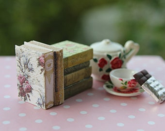 Dollhouse miniature shabby and romantic stack of 6 books
