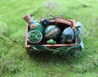 Dollhouse miniature magic green wood tray with herbal potions