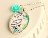 seek justice love mercy walk humbly micah six eight / pendant necklace