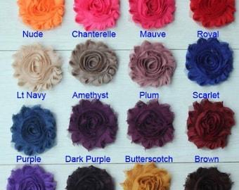 "10 SOLID Shabby Flowers ~ 2.5"" Chiffon Flowers"