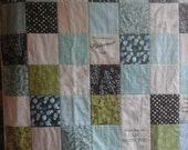 Christian Lap Quilt, Comfort Quilt, Turquoise, Brown and Green Throw Quilt, Christian Quilted Throw