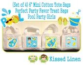 "Summer Swim Pool Fun in the Sun Boys Girls Birthday Party Treat Favor Gift Bags Mini 6""x5"" White Canvas Totes Children Kids Girls Set of 4"