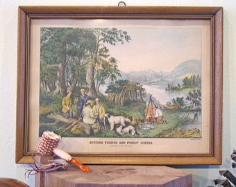 SALE Vintage Pastoral Scene 'Hunting Fishing and Forest Scenes' Lithograph 1867