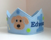 Dog Birthday Crown for Boys, Puppy Crown, Blue, First Birthday