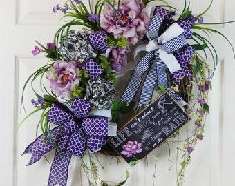Purple Door Wreath, Spring Summer Grapevine Wreath, Mother's Day Wreath, Wreath w Roses and Hydrangeas, Wreath w Sign, Purple Lavender Black