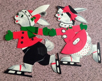 Vintage Christmas Die Cuts Set of Two Ice Skating Bunny Rabbits Cut Outs 1950s Holiday Decorations Xmas Collectibles