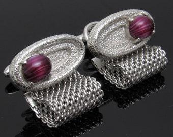 Vintage Mesh Cufflinks Purple Art Glass Mens Jewelry H811
