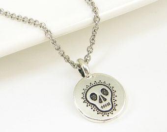 Small Silver Skull Necklace Mini Sugar Skull Charm Necklace Antique Silver Day of the Dead Jewelry |NB2-14