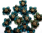 10 Lovely Czech/Matte/Old Patina Teal Flower Beads with Gold Etching