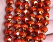 10 Beautiful Sunshine Orange, White and Bronze Center Cut Authentic Czech Beads