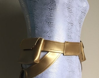 """custom size Atano style Utility Belt with three pockets and covered metal rings: 32""""-44"""""""