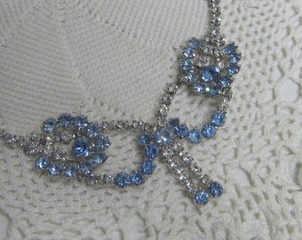 Vintage Blue & Clear Rhinestone Choker Necklace with Center Bow and Tassels Homecoming Prom Wedding Bride