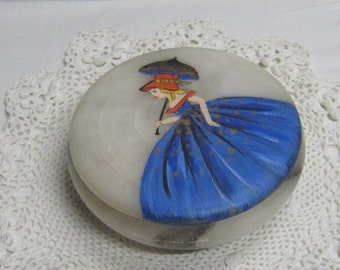 Vintage Hand Painted Alabaster Trinket Box Dresser Jar Girl with Parasol Made in Italy Jewelry Box Vanity