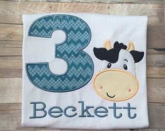 Cow Birthday Shirt - Farm Birthday Shirt - Personalized Cow Birthday Shirt for Boys