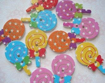 30mm Lollipop Shape Wood Buttons Pack of 9 Lollipop Buttons WW3048