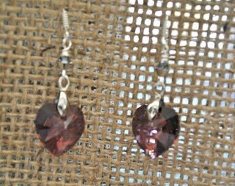 Purple Swarovski Heart Crystal Earrings