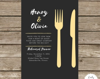5x7 Rehearsal Dinner Invitation - Knife and Fork Themed - Choose Your Colors - Wedding  Invitation
