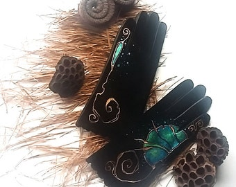 Black Leather Gloves - blue rustic gloves - vintage gloves -SIZE 8 - ready to ship - autumn - winter - black - leather palm gloves -copper
