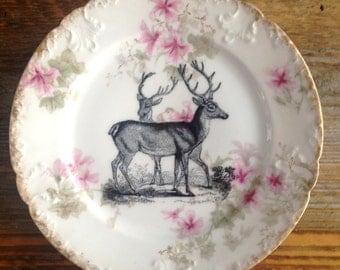 Altered Art Plate vintage Victorian Stag Deer Illustration
