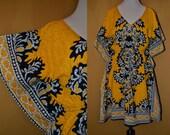 Vtg 60's 70's M//L RARE India Boho Mustard // black Cotton block print Bat wing sleeve tunic top mini dress Women