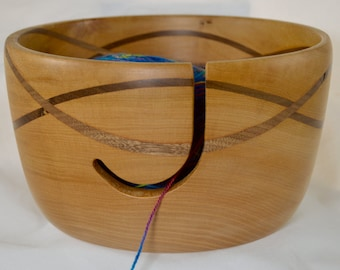 836 Yarn bowl, made from Figured Big Leaf Maple with a double wave of Black Walnut