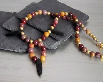 Red Brown Tribal Style Necklace, Earth Tones Jewellery, Mookaite Gemstone Jewellery, Rustic Stone Necklace, Chunky Accessories Earthy Style