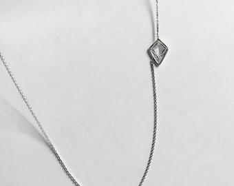 14k Gold Unique Kite Shaped Delicate  Diamond Necklace