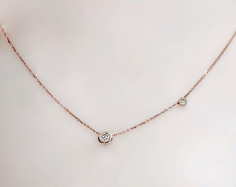 14k Gold Tiny Delicate Solitaire Diamond Necklace