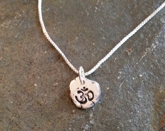 Recycled Solid Sterling Silver Tiny OM Irregular Unique Pendant Necklace handmade Ohm solid sterling necklace