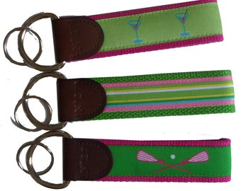 Leather Key Fobs/Key Chains/Ribbon Key Chain/Leather Key Chain/Colorful Ribbon Fobs/D-Ring