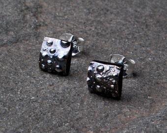 Oxidized Sterling Silver Sea Urchin Stud Earrings- Ocean Lover Jewelry- Silver Shell Earrings- Tiny Simple Silver Earrings- Nautical Jewelry