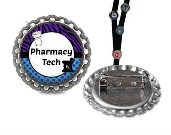 Pharmacy Tech Lanyard Pin lanyard clip id, pharmacy id, id tag, retractable id, lanyard id, tag, badge holder, badge clip, name badge holder