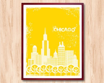 CHICAGO City Skyline - Instant Download, Letterpress Style City art print, Personalized gift, Wall art, Wall decor, chicago art, kids art