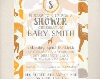 Woodland Animal Baby Shower Invitation, Fox Deer Chick Rabbit, Digital File, Customizable, Printable