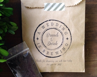Coffee Wedding Favor Bags- A Wedding is Brewing -Bridal Shower Favor,  anniversary, engagement party favors - 25 Bags