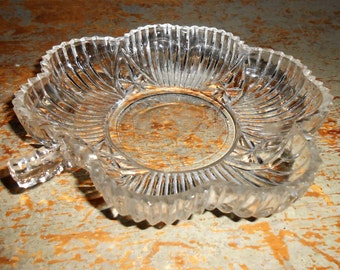 Vintage Candy Dish, Flower, Glass Dish, Relish Dish, Clear Glass, Relish Tray, Floral, Pickle Dish