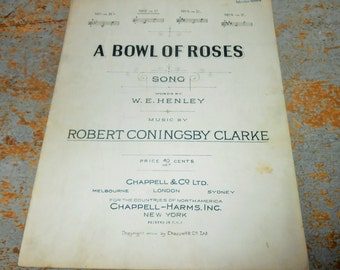"""Vintage Music Sheet, """"A Bowl of Roses"""", Piano, Old, Music Score, Sheet Music, Copyright 1919"""
