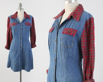 Vintage 90s Grunge Denim Dress - Long Sleeve Button Front Flannel & Jean Day Dress - A Line Mini Skater Dress - Size Large to Medium L M