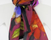 Hand Painted Silk Floral Skinny Scarf in Wine, Lavender, Rust,Blue and Olive