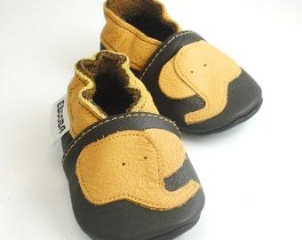 soft sole baby shoes infant handmade elephant yellow dark brown 6 12 garcon cuir souple chaussons Krabbelschuhe porter ebooba EL-9-DB-T-2