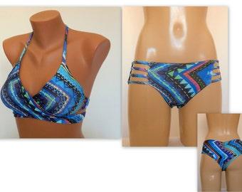 PADDED Wrap around tribal print bikini top and reversible scrunch stappy bottoms-Bathing suit-Swimwear-Swimsuit-Brazilian bikini-XS-S-M-L-XL