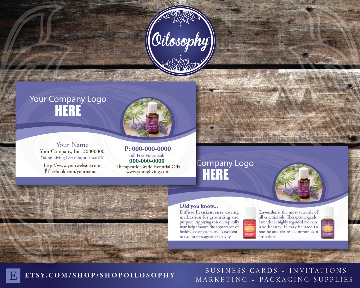 Young Living Business Cards Lavender Swirl by ShopOilosophy