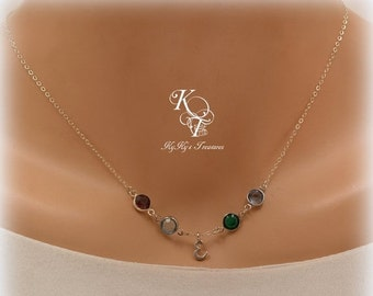 Sterling Silver Necklace, Personalized Birthstone Necklace, Mothers Necklace, Birthstone Necklace, Anniversary Gift, Mothers Day Gift