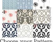 Door Draft Stopper - ANY SIZE - Door Snake Dodger - Breeze Blocker - Window Draft Stopper - Arrow, Ikat, Dandelion, Stripe - Navy Blue, Gray