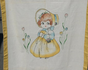 Vintage Cute Little BoPeep Style Girl Baby Quilt, Hand Embroidered Cute Wall Hanging Display Piece
