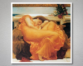 Flaming June by John Frederic Leighton - Poster Paper, Sticker or Canvas Print