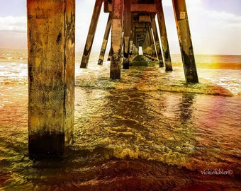 Beach Photography, Ocean Photography, Home Decor, Beach, Sunrise, Wall Art, Wall Hanging, Fishing Pier 8x10, 11x14