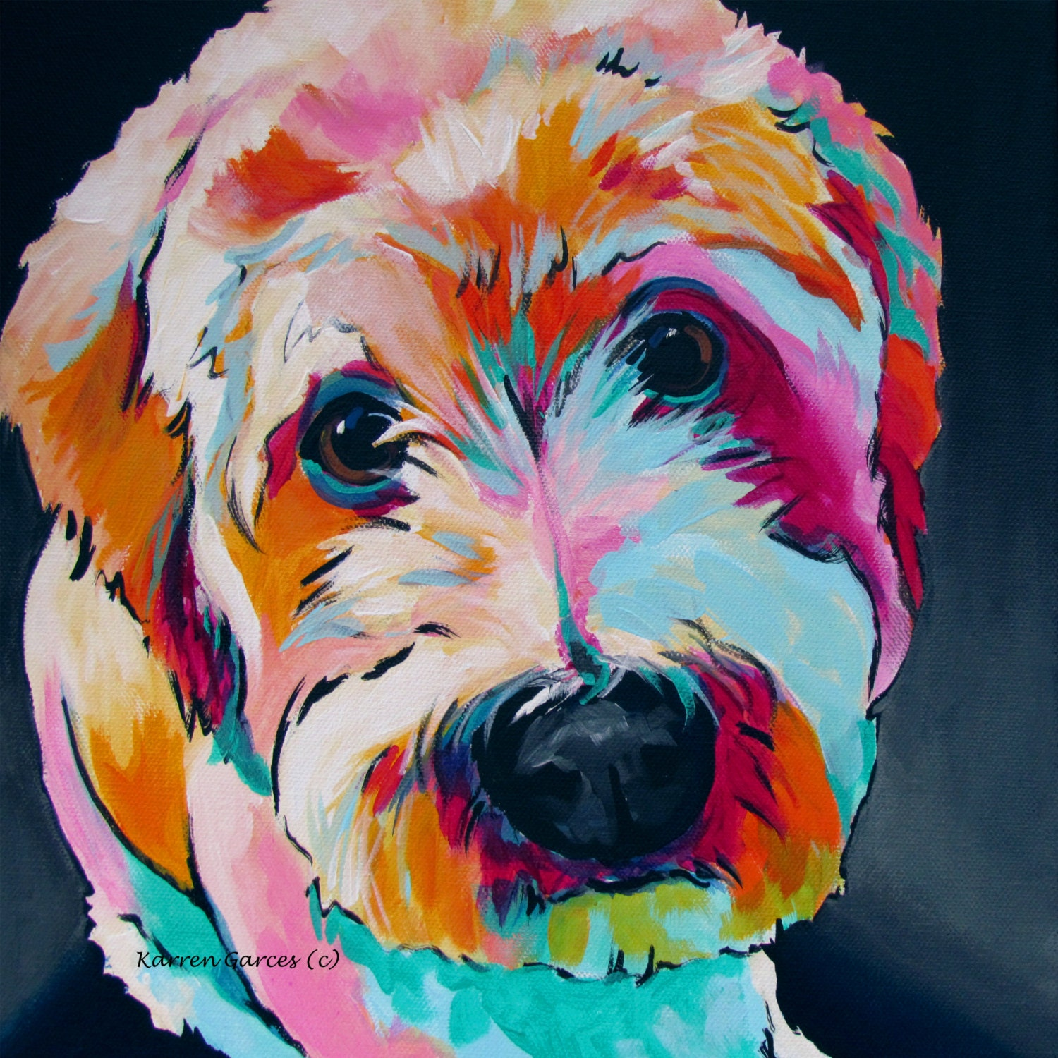 Labradoodle wheaten terrier dog art pet portrait bright for Dog painting artist