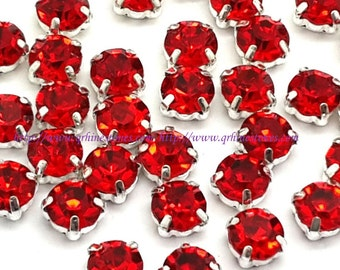 Red Sew on Round Rhinestone chatons Silver or Gold Prong 4mm 5mm 6mm 7mm 8mm Light Siam